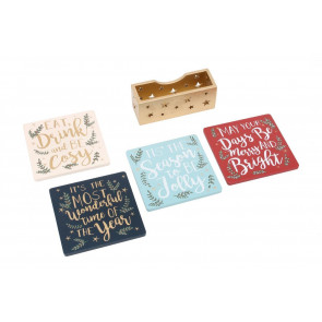 Set Of Four Wooden Festive Christmas Drink Coasters And Star Holder
