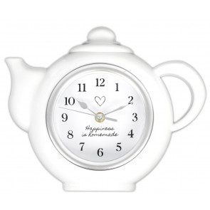Happiness Is Homemade Wall Hanging Kitchen Teapot Clock Tea Decoration
