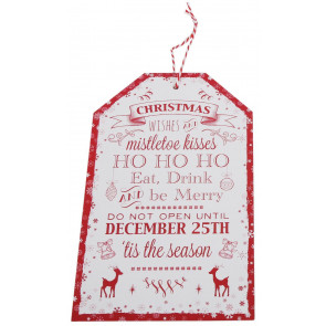 Wooden Hanging Christmas Plaque ~ White