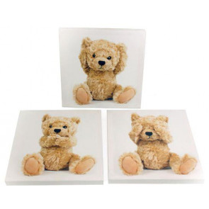 Set With 3 20cm x 20cm Teddy Bear Canvases