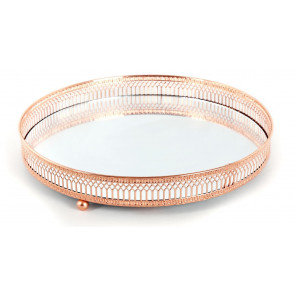 Copper Effect Mirror Tealight Candle Tray Plate 28Cm