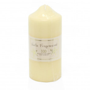 16 x 7cm 100 Hour Overdipped Vanilla Scented Pillar Votive Wax Candle Cream