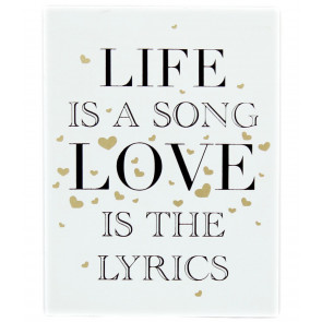 Gold Wooden Love Sign Wall Hanging Plaque 15cm x 20cm ~ Life Is a Song