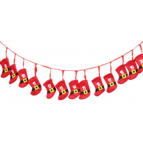 Fabric Santa Claus Father Christmas Belt Stocking Hanging Advent Garland Decoration
