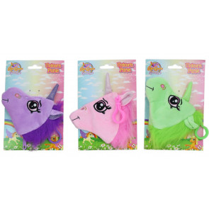 Soft Plush Unicorn Purse For Children With Clip ~ Colour Vary