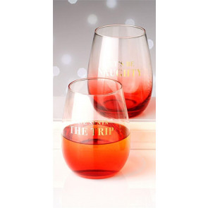 Holiday Cheers Set Of 2 Christmas Stemless Wine Glasses In Gift Box ~ Let's Be Naughty Save Santa The Trip