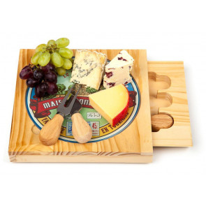 Occasion Square Cheese Board with Printed Removable Glass PlateTop and 3 Cheese Knives …