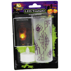 Haunted House Light Up Halloween Led Tealight Lantern - Battery Operative Halloween Light Up Candle Votive