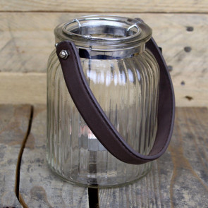 Clear Ribbed Glass Decorative Tealight Holder With Leather Handle