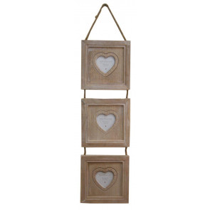 Limewash Triple Hanging Heart Photo Frame