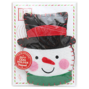 Felt Hanging Christmas Ornament Cheque Money Gift Card Holder With Envelope ~ Snowman