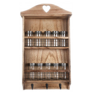 Wooden Wall Hanging Kitchen Herb Spice Rack With 10 Glass Screwtop Jars And 3 Hooks