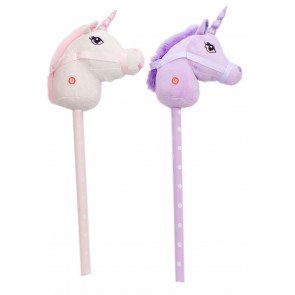 Childrens Plush Hobby Horse Unicorn With Sound ~ Unicorn - Colours Vary