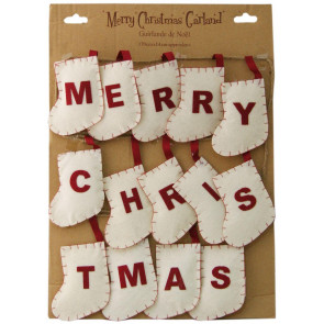 Shabby Chic Style Christmas Bunting Garland Decoration  ~ White Stocking Merry Christmas Bunting