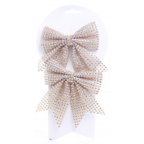 Set Of 2 Gold Bow Sequin Present Decorations - Christmas Tree Bows