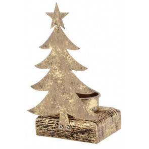 Gold Tea Light Holder Christmas Candle Decoration ~ Christmas Tree Tealight