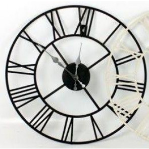 60Cm Stunning Metal Skeleton Roman Numeral Clock - Black Iron Wall Clock
