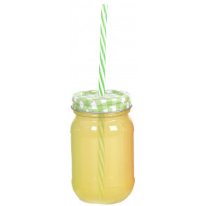 Retro Coloured Glass Drinking Jar With Straw ~ Yellow Jar