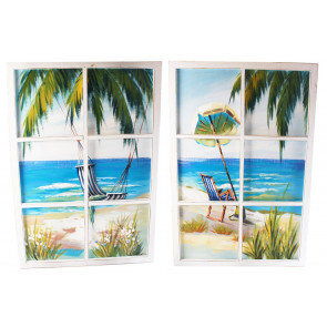 6 Pane Window Art Wooden Framed Palm Tree Hammock Parasol Beach Scene Wall Print 90cm x 60cm ~ Design Vary