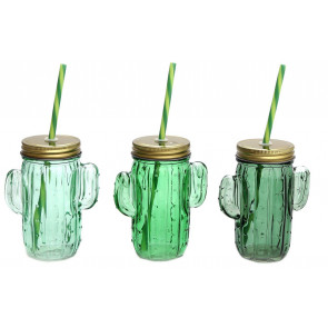 Green Glass Cactus Drinking Jar With Screwtop Lid And Straw ~ Colour Vary