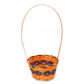 Woven Halloween Trick Or Treat Basket Sweet Candy Bucket ~ Orange