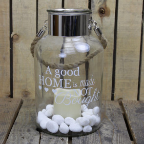 Clear Glass Hurricane Storm Lantern With Rope Handle And LED Flameless Candle And Decorative Stones ~ Made Not Bought