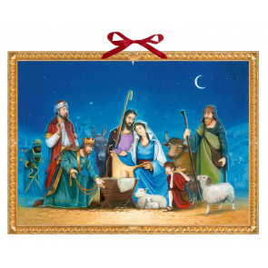 Deluxe Traditional Card Advent Calendar Large - The Nativity Scene