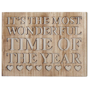 Cut Out Word Phrase Hanging Wooden Christmas Sign Plaque ~ Wonderful