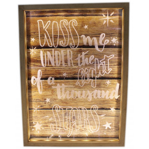 Wooden Box Frame Light Up LED Slogan Plaque Love Sign 34cm x 25cm ~ Kiss Me Under The Light Of A Thousand Stars