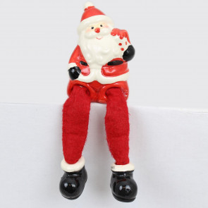 Ceramic Dangly Leg Santa Claus Father Christmas Shelf Sitter Decoration