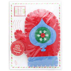 Felt Hanging Christmas Ornament Cheque Money Gift Card Holder With Envelope ~ Mitten