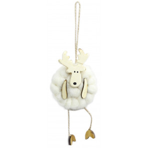Woolly Reindeer Christmas Tree Hanging Decoration - White