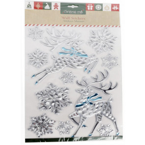 Christmas Wall Stickers Decal Decoration Craft Pack - Reindeer And Snowflakes