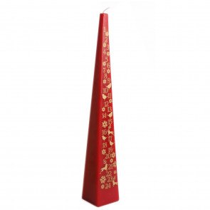 Pyramid Countdown To Christmas Advent Candle 33cm ~ Red
