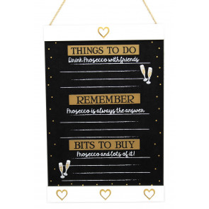 Hanging Wooden Prosecco Chalkboard Things To Do Memo Blackboard