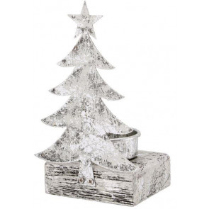 Silver Tea Light Holder Christmas Candle Decoration ~ Christmas Tree Tealight