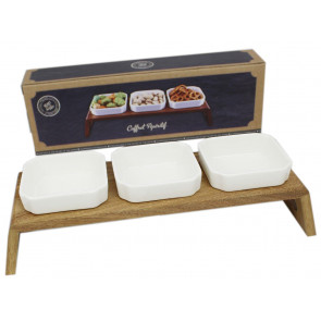 Premium Kitchen 3 Ceramic Dip Bowls Set On Acacia Wood Stand