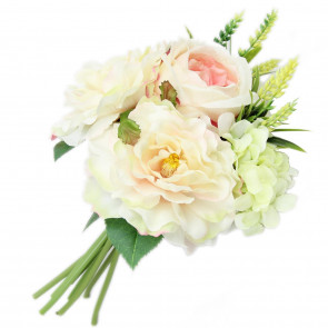 Decorative Artificial Floral Bunch Bridal Rose Hydrangea Flower Bouquet ~ White