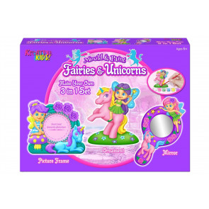 Kreative Kids 3 in 1 Fairies & Unicorns Mould and Paint Set - Make Your Own Fairy & Unicorn Frame, Mirror and Ornament