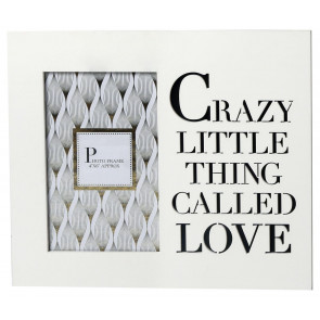 4 x 6 White Wooden Cut Out Words Phrase Photo Frame ~ Crazy Little Thing Called Love