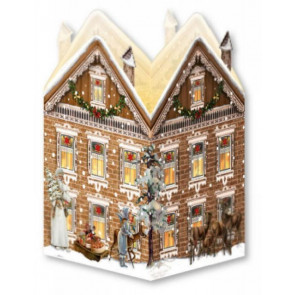 Deluxe Mini Advent Calendar Christmas Card - Nostalgic House Tealight Lantern - Brown House