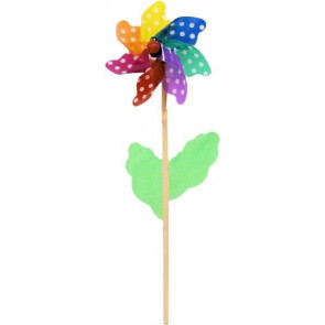 Multicoloured Spotted Garden Windmill 45Cm