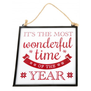 Hanging Christmas Glass Plaque Decoration 21cm x 20cm - The Most Wonderful Time Of The Year
