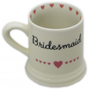 Boxed Ceramic Heart Wedding Favour Gift Mug ~ Bridesmaid