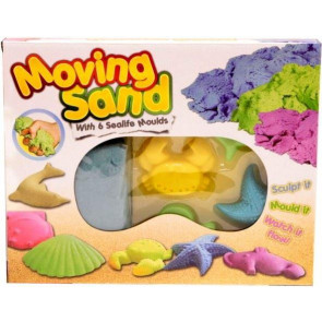 Moving Sand Play Dough Set - With 500g Magic Motion Sand And 6 Sealife Moulds