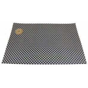 Wipe Clean PVC Woven Dining Table Place Mat Single ~ Black Placemat
