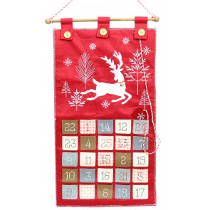Festive Leaping Reindeer Felt Advent Calendar Christmas Wall Hanging