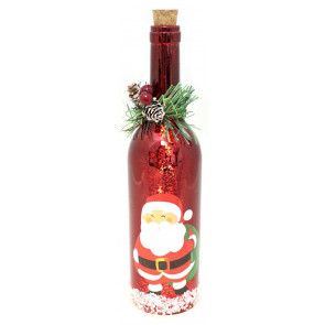 Mercury Glass Christmas Wine LED Bottle Lights Lantern Decoration ~ Red Santa