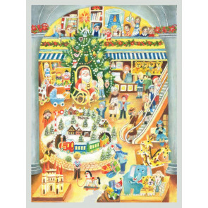 Traditional Santa Father Christmas Shopping Centre Grotto Card Advent Calendar With Envelope