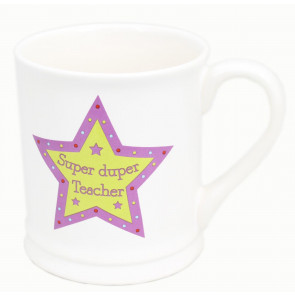 Chunky Ceramic Star Teacher Mug Gift ~ Super Duper Teacher